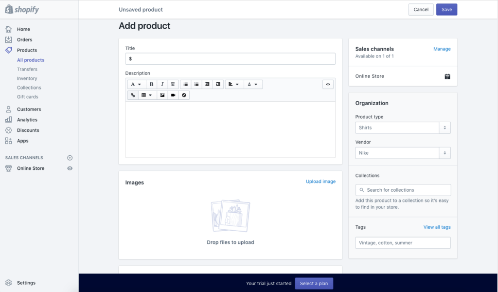 Adding Products in Shopify