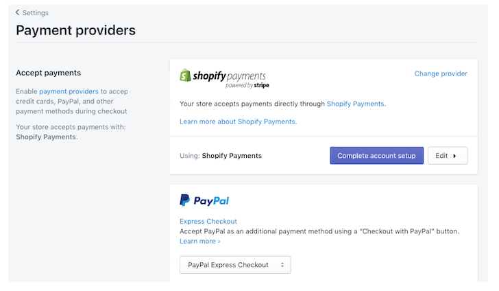 Shopify Payment Provider Selection