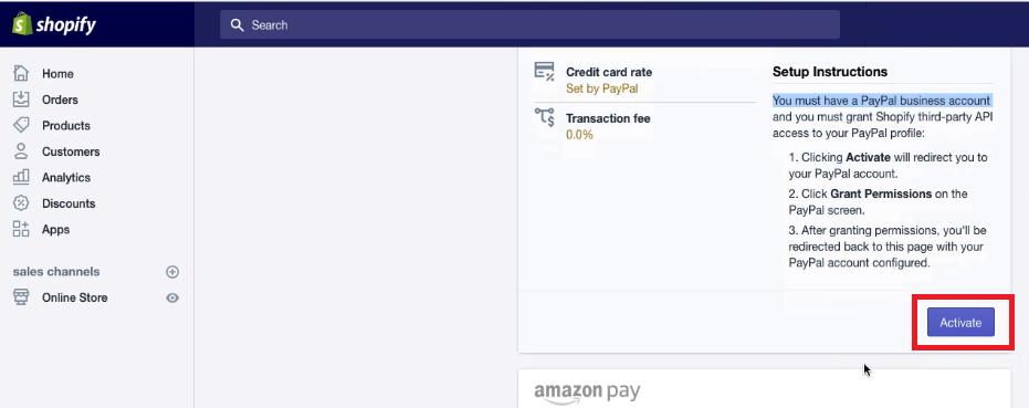 Shopify PayPal Setup Activation
