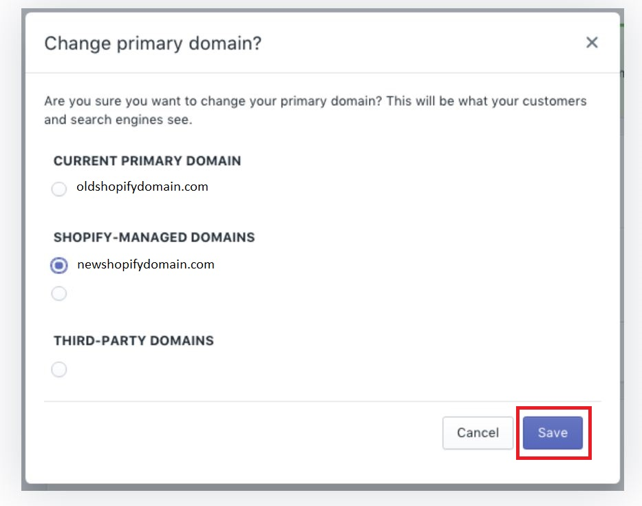 Shopify Change Primary Domain Process
