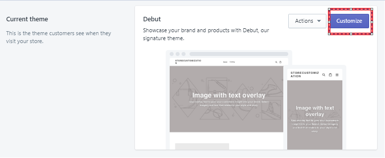 Shopify Editing Current Theme